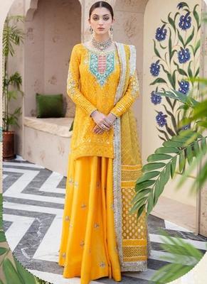 Yellow Georgette Pakistani Salwar Kameez