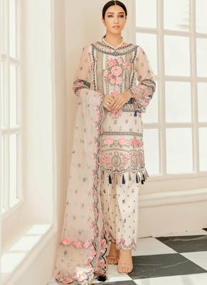 Off White Georgette Pakistani Salwar Kameez