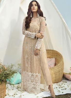 Cream Net Pakistani Salwar Kameez