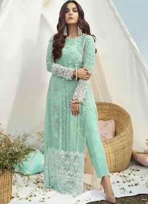 Turquoise Net Pakistani Salwar Kameez