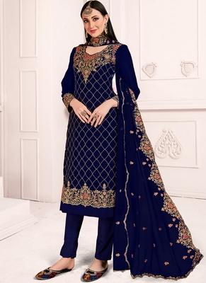 Royal Blue Georgette Straight Suit