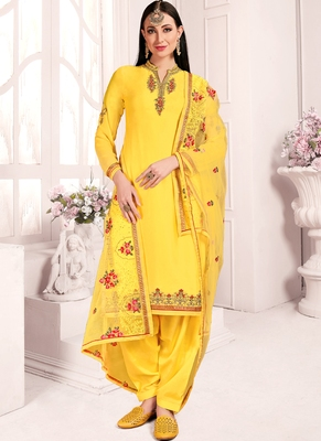 Light Yellow Georgette Straight Suit