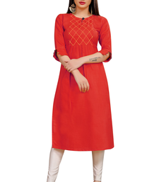 Red embroidered cotton poly ethnic-kurtis