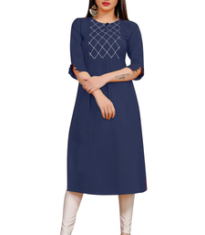 Navy blue embroidered cotton poly ethnic-kurtis
