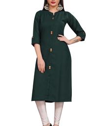 Dark green plain cotton poly ethnic-kurtis