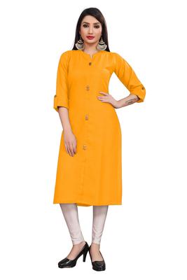 Mustard plain cotton poly ethnic-kurtis