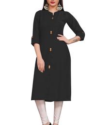 Black plain cotton poly ethnic-kurtis