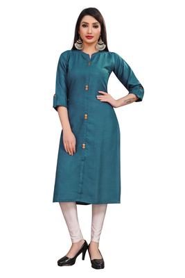 Indigo plain cotton poly ethnic-kurtis