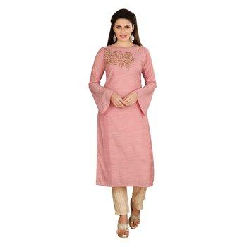 Pink embroidered art silk kurtas-and-kurtis