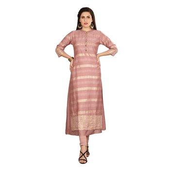 Pink embroidered silk kurtas-and-kurtis