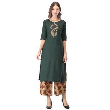 Green embroidered rayon kurtas-and-kurtis