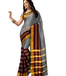 Buy Grey and Maroon Plain cotton saree with blouse cotton-saree online