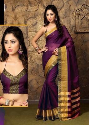 Purple Plain Cotton Saree with Blouse