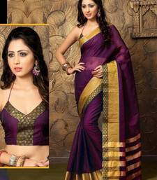 Buy Purple Plain Cotton Saree with Blouse cotton-saree online