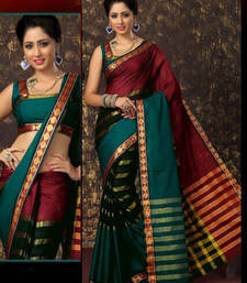Buy Multicolor cotton saree with blouse cotton-saree online