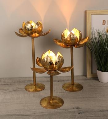 Set of 3  Detachable Lotus Tealight Holder