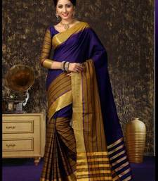 Purple plain cotton saree with blouse shop online