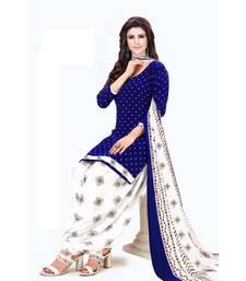 blue printed synthetic patiala salwar