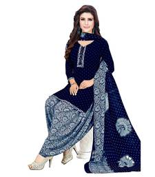 blue printed synthetic patiala salwar