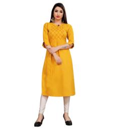 Mustard embroidered cotton poly ethnic-kurtis