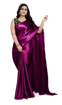Purple  Satin Fancy Saree with Blouse