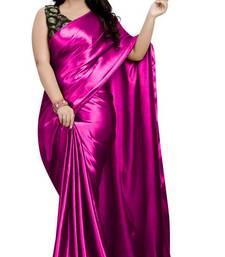 Pink  Jacquard work Satin Fancy Saree with Blouse