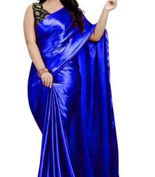 Blue  Jacquard work Satin Fancy Saree with Blouse