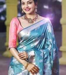 Light Blue Color  New Bollywood Banarasi Saree with Contrast Border