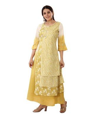 Mustard printed cotton kurtas-and-kurtis