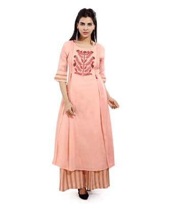 Peach woven cotton kurtas-and-kurtis