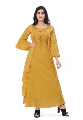 Mustard embroidered cotton kurtas-and-kurtis