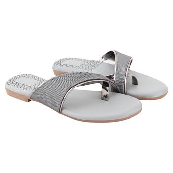 Do Bhai Grey Casual Slip-On Flats For Women
