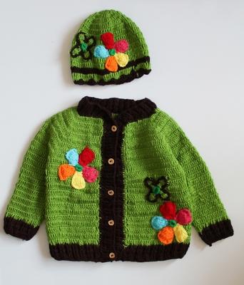 Green hand woven woolen blends girls-jackets-coats