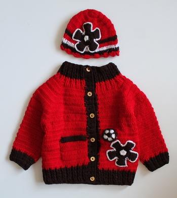 Red hand woven woolen blends girls-jackets-coats