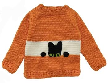 Orange hand woven woolen blends girls-jackets-coats