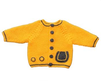 Yellow hand woven woolen blends girls-jackets-coats