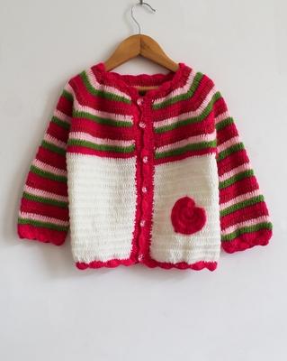 Multicolor hand woven woolen blends girls-jackets-coats