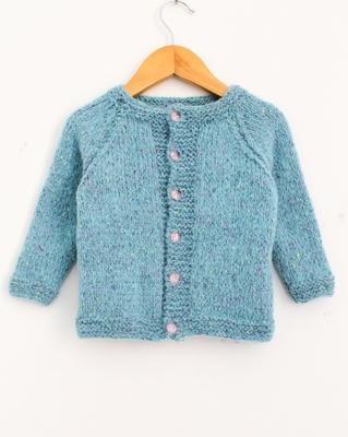 Turquoise hand woven woolen blends girls-jackets-coats