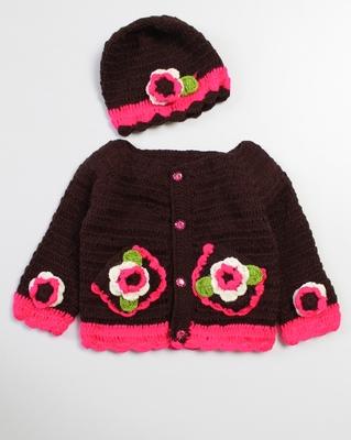 Brown hand woven woolen blends girls-jackets-coats