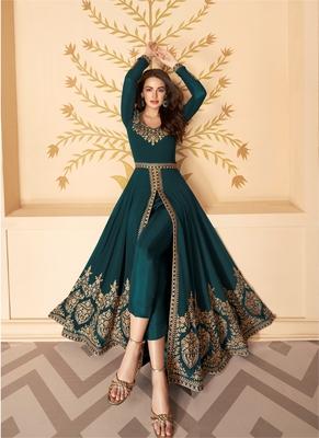 Dark Green Slit Style Embroidered Anarkali Pants Suit