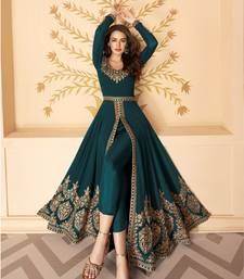 Dark Green Slit Style Embroidered Anarkali Pants Suit