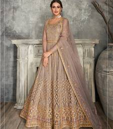 Mauve Golden Embroidered Anarkali Suit