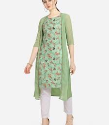 Women Printed Green Colour Straight Kurta