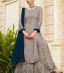 Grey Georgette Pakistani Salwar Kameez