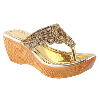 Do Bhai Gold Embellished Wedges for Women