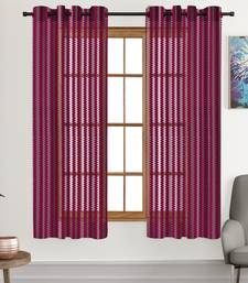 A Maroon Printed Polyester Net Sheer Window Curtain