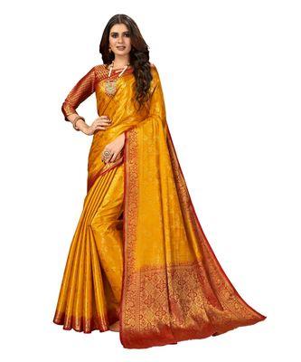 Yellow Banarasi Jacquard Dola softy Silk Woven Saree with Blouse