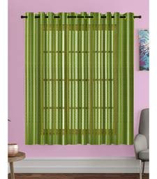 A Green Printed Polyester Net Sheer Window Curtain