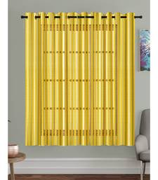 A Yellow Printed Polyester Net Sheer Window Curtain