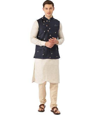 Blue cotton Jacket Kurta Churidar Set